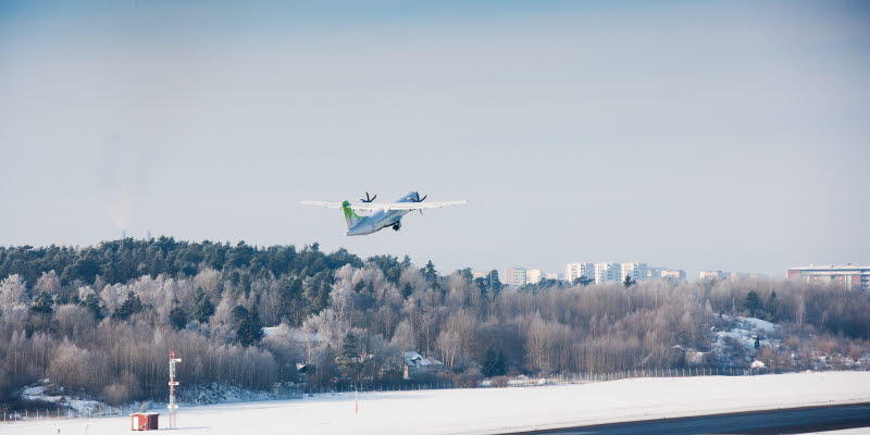 Airplane taking off at Bromma Stockholm Airport