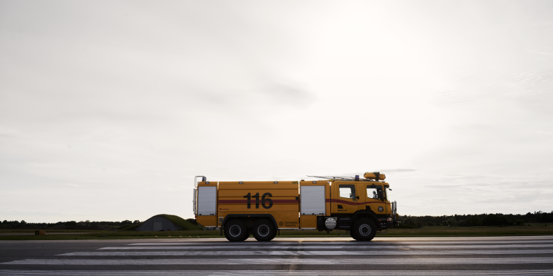 Yellow fuel truck at Visby Airport