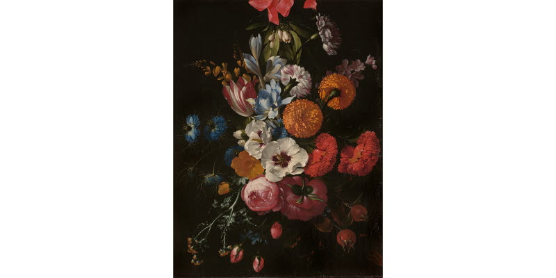 Still life with flower bouquet suspended in red ribbon
