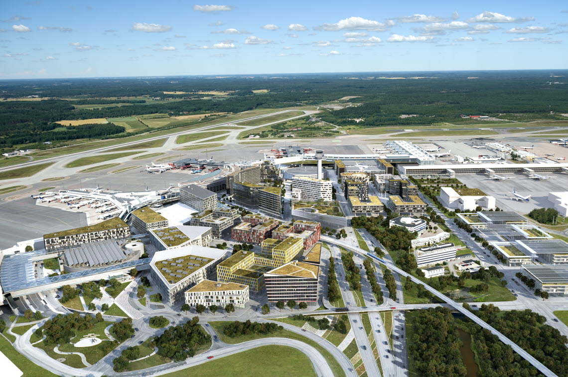 View of the future Stockholm Arlanda Airport and City Airport