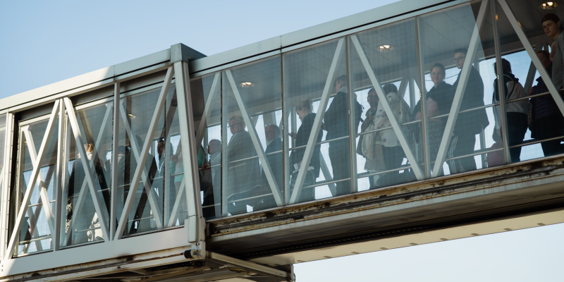 People in a flight bridge