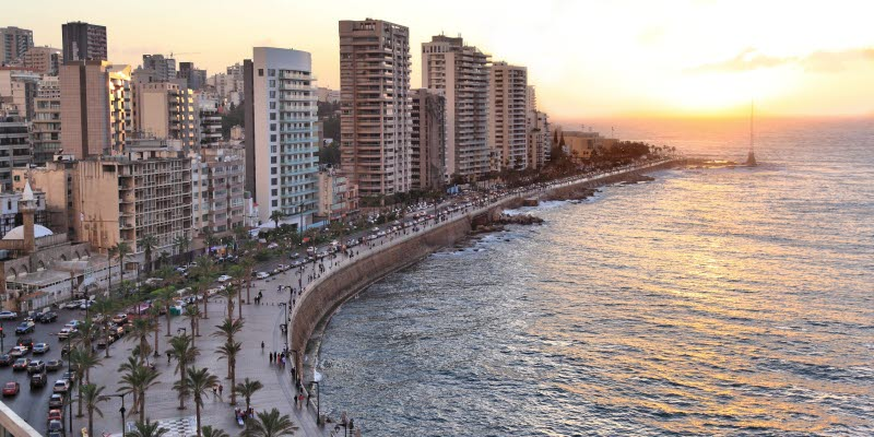 Buildings and water in the city of Beirut