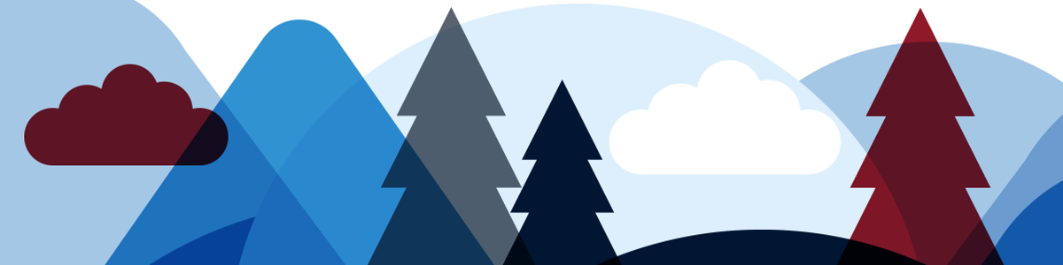 Illustration trees, clouds and mountain