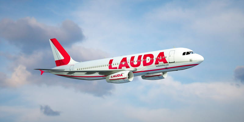 Laudamotion plane in the air