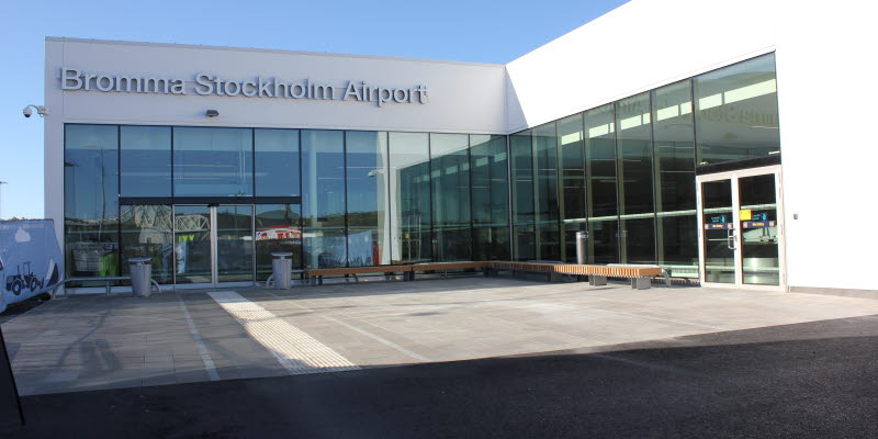 View from the arrival hall at Bromma Stockholm Airport.
