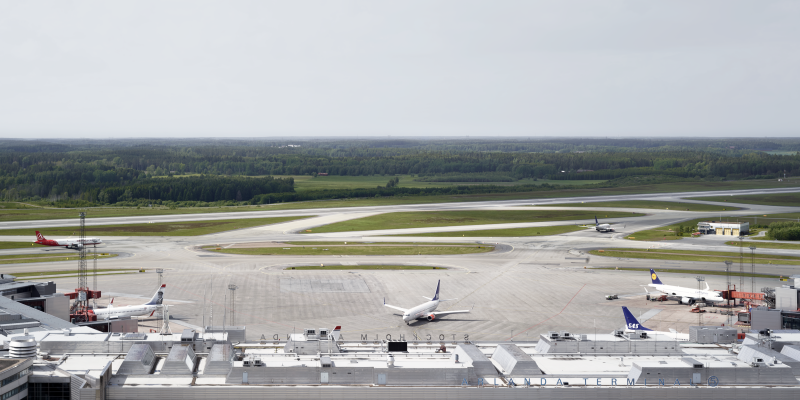 View of launch and runways with airplanes on Arlanda