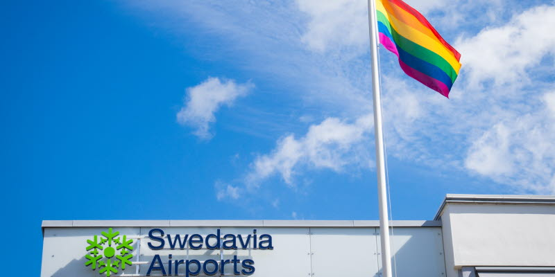 The Pride flag outside a Swedavia building