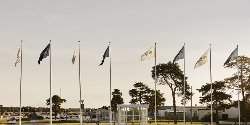 Flags in poles at Visby Airport