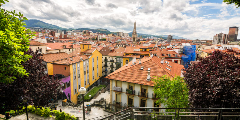 Panoramic views of downtown Bilbao, Spain