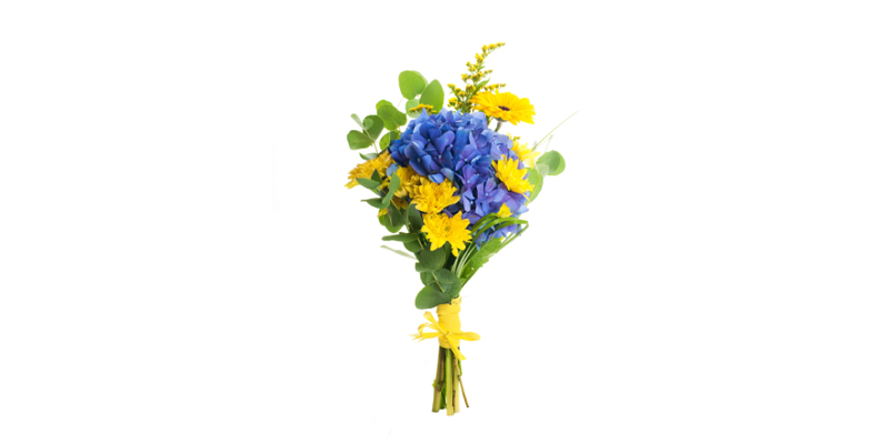 A yellow and blue flower bouquet