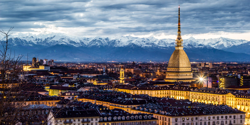 Winter view over the italian city Turin