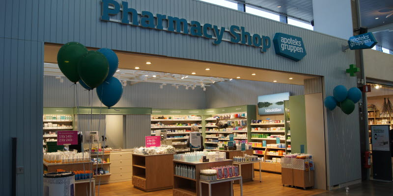 Pharmacy Shop Apoteksgruppen shop entry at Arlanda